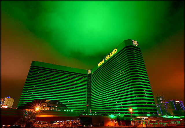 Image of green clouds above a building in Las Vegas
