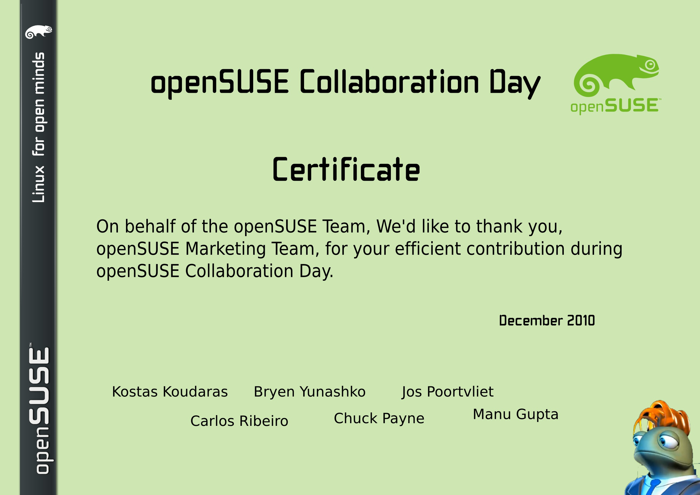 openSUSE Certificate