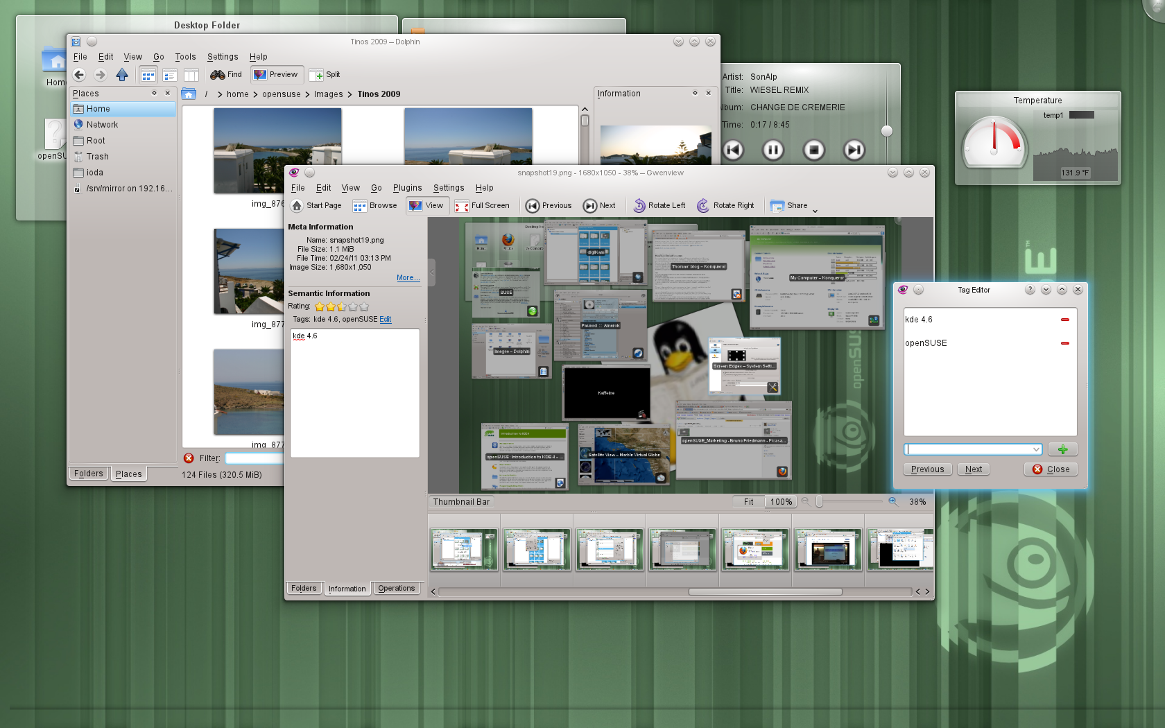 openSUSE KDE desktop with Dolphin and Gwenview