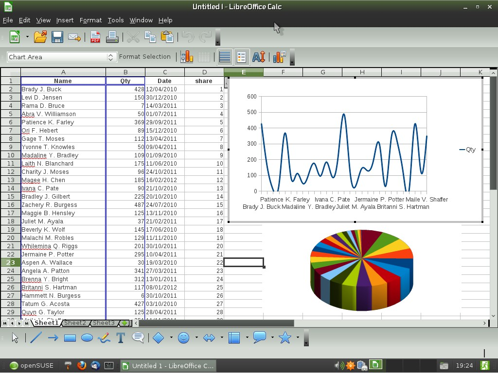 LibreOffice Calc on XFCE in openSUSE 11.4