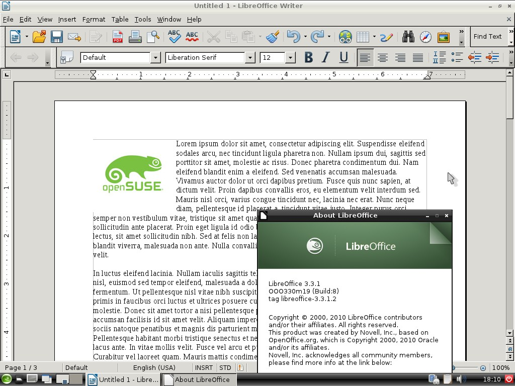 LibreOffice Writer on LXDE in openSUSE 11.4