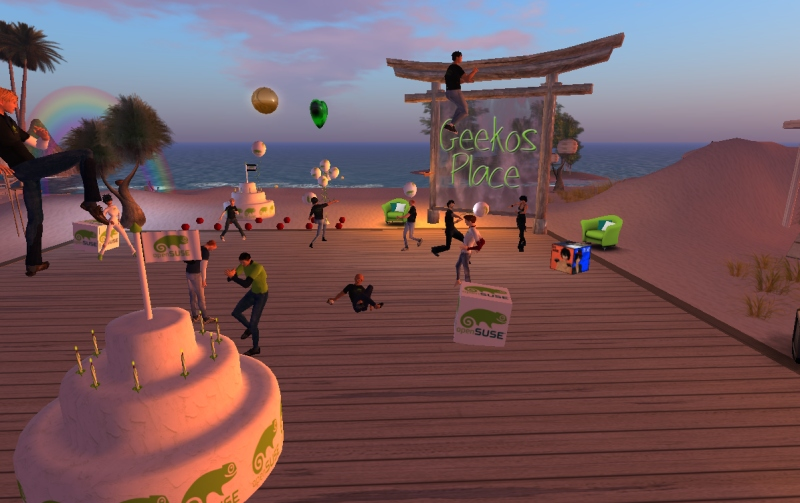 Party time on second life for openSUSE 11.4