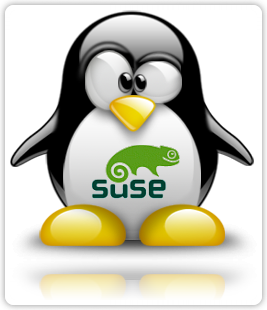 openSUSE logo on tux' belly
