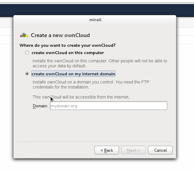 creating a new ownCloud