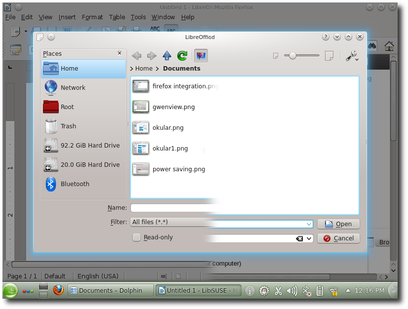 LibreOffice and Firefox use KDE file dialogs
