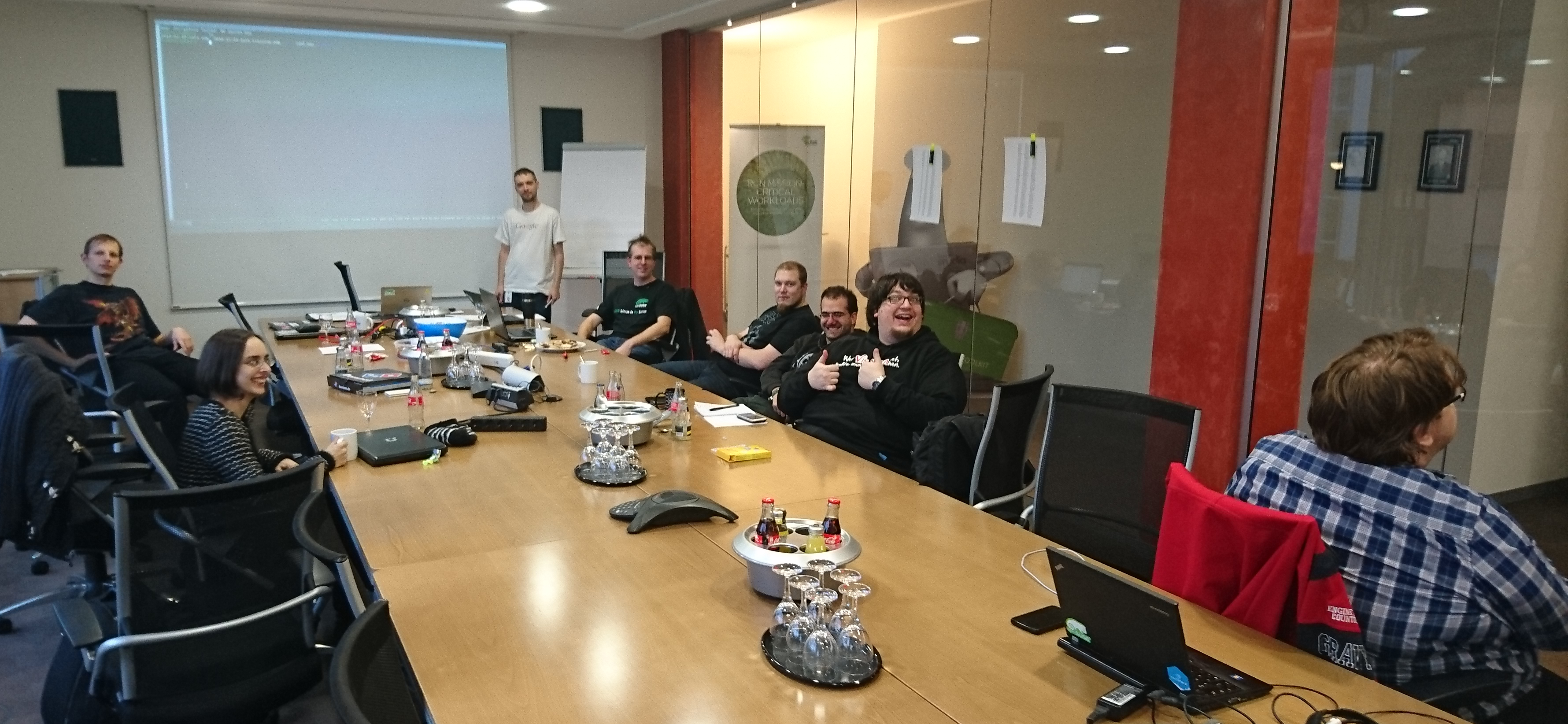 Picture from the meeting with some openSUSE Heroes discussing